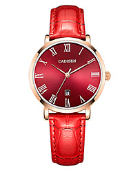 cheap -CADISEN Women's Quartz Wrist Watch Japanese Calendar / date / day Water Resistant / Water Proof Casual Watch Leather Band Casual Elegant