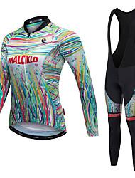 economico -Malciklo Per donna Manica lunga Maglia con salopette lunga da ciclismo - Bianco Nero Bicicletta Calzamaglia/Salopette/Corsari