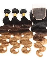 baratos -3 pacotes com fechamento Cabelo Brasileiro Onda de Corpo 8A Cabelo Humano Âmbar 12-26 polegada Tramas de cabelo humano Tecido Melhor qualidade Cabelo de base de seda Extensões de cabelo humano