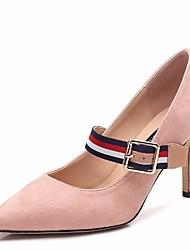 preiswerte -Damen Schuhe Vlies Frühling Herbst Pumps High Heels Stöckelabsatz Spitze Zehe Schnalle für Normal Schwarz Rosa Khaki