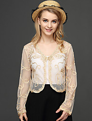 cheap -Women's Work Polyester Wrap - Solid, Lace Embroidered Jacquard V Neck