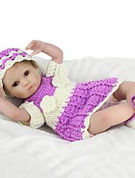billige -NPK DOLL Reborn-dukker Baby 18 inch Silikone / Vinyl - livagtige, Hånd Anvendte Øjenvipper, Tippede og forseglede negle Børne Pige Gave / CE / Naturlig hudfarve / Floppy Head
