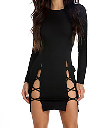cheap -Women's Going out Street chic Bodycon Sheath Dress - Solid Color Black, Cut Out Mini