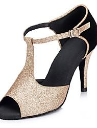 cheap -Women's Latin Shoes Flocking / Sparkling Glitter Sandal / Heel Customized Heel Customizable Dance Shoes Black / Gold / Professional