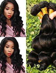 cheap -Brazilian Hair Loose Wave Human Hair Weaves 4-Pack Natural Color Hair Weaves