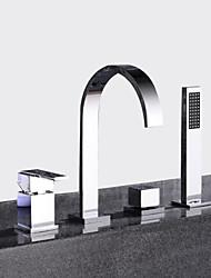 abordables -Moderne Diffusion large Avec spray démontable Soupape céramique Deux poignées quatre trous Chrome, Robinet de baignoire
