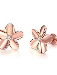 abordables -Femme Adorable Fleur Cristal Boucles d'oreille goujon / Avec boîte-cadeau - Mode Argent / Or Rose Des boucles d'oreilles Pour Mariage /