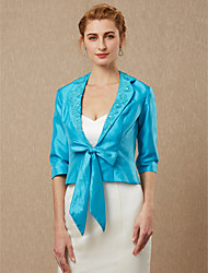 cheap -3/4 Length Sleeve Taffeta Wedding / Party / Evening Women's Wrap With Beading / Appliques / Bow(s) Coats / Jackets