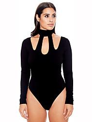 cheap -Women's Club Active Basic Cotton Bodysuit - Solid Color Halter