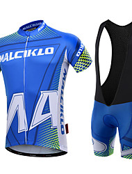 cheap -Malciklo Cycling Jersey with Bib Shorts Men's Short Sleeves Bike Clothing Suits Quick Dry Front Zipper Wearable High Breathability
