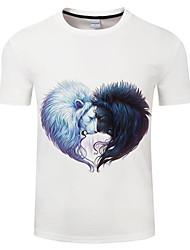 abordables -Tee-shirt Grandes Tailles Homme, Couleur Pleine Col Arrondi