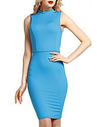 abordables -Femme Grandes Tailles Basique Mince Gaine Robe Couleur unie Col Ras du Cou Au dessus du genou