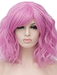 cheap -Synthetic Wig Water Wave Blonde Synthetic Hair Red / Blue / Blonde Wig Women's Short Capless / Pink