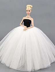 cheap -Dresses Dress For Barbie Doll White/Black Tulle Lace Silk/Cotton Blend Dress For Girl's Doll Toy