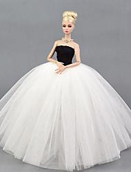 tanie Ubranka dla lalek Barbie-Suknie Sukienka Dla Lalka Barbie White-Black Tiul Koronka Jedwab / Cotton Mieszanka Ubierać Dla Dziewczyny Lalka Zabawka