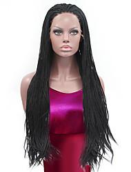 abordables -Peluca Lace Front Sintéticas Recto Pelo sintético Entradas Naturales / Peluca afroamericana / Peluca con trenzas Negro Peluca Mujer Larga Encaje Frontal / Sí