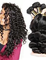 Недорогие -3 Связки Бразильские волосы Свободные волны Натуральные волосы Человека ткет Волосы Ткет человеческих волос Расширения человеческих волос