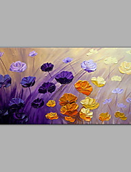 cheap -Hand-Painted Abstract Floral/Botanical Horizontal, Modern Canvas Oil Painting Home Decoration One Panel
