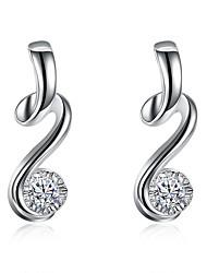 billige -Dame Kvadratisk Zirconium Store øreringe - Sølvbelagt Mode Sølv Til Gave Daglig