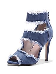 abordables -Femme Chaussures Tissu Printemps Eté Confort Sandales Talon Aiguille Bout ouvert pour Décontracté Soirée & Evénement Bleu