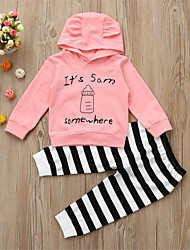 cheap -Baby Unisex Daily Sports Striped Print Clothing Set,Cotton Spring Fall Cute Casual Long Sleeve Yellow Blushing Pink