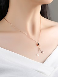 cheap -Women's Rose Gold Pendant Necklace - Simple Elegant Geometric Drop Rose Gold Necklace For Wedding Evening Party