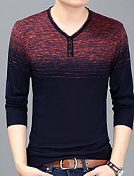 cheap -Men's Slim T-shirt - Color Block Print V Neck