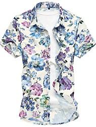 Недорогие -Муж. Пляж Рубашка Хлопок Цветочный принт Синий / С короткими рукавами / Весна / Осень