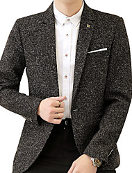 cheap -Men's Street chic Plus Size Linen Blazer - Solid Colored Print
