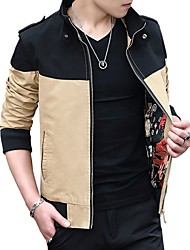 cheap -Men's Sporty Cotton Jacket - Color Block Stand / Long Sleeve