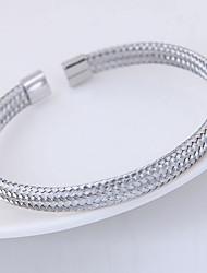 baratos -Mulheres Pulseiras Algema - Círculo de torção Simples, Europeu Pulseiras Prata Para Diário
