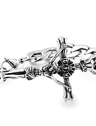 cheap -Men's Stainless Steel Cool Cross Link Bracelet - Hip-Hop Silver Bracelet For Other Daily
