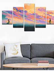 preiswerte -Gerollte Leinwand Zeitgenössisch, Fünf Panele Segeltuch Quadratisch Druck Wand Dekoration Haus Dekoration