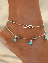 cheap -Bohemian Infinity Turquoise Anklet - Women's Gold / Silver Bohemian / Fashion Infinity Anklet For Gift / Bikini / Going out
