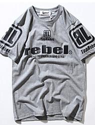 economico -T-shirt Per uomo Tinta unita Alfabetico Rotonda - Cotone