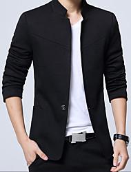 Недорогие -Муж. Большие размеры Куртка Воротник-стойка Бутик - Однотонный / Длинный рукав