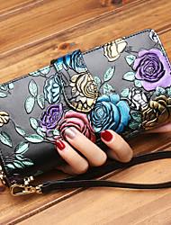 cheap -Women's Bags Cowhide Wallet Zipper for Formal Office & Career All Seasons Silver Rainbow