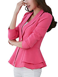 cheap -Women's Work Street chic Jacket - Solid Colored, Ruffle