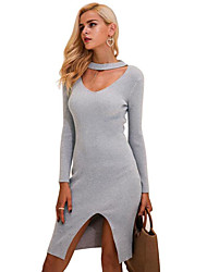 cheap -Women's Basic Bodycon Dress - Solid Color V Neck