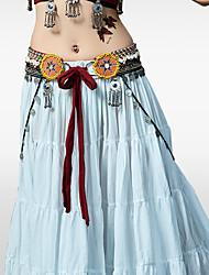 abordables -Danse du ventre Echarpe de Danse du Ventre Femme Entraînement Utilisation Polyester Billes Astérie et Coquillage Jeton argenté Echarpe de
