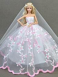 cheap -Dresses Dress For Barbie Doll Pale Pink Tulle Lace Silk/Cotton Blend Dress For Girl's Doll Toy