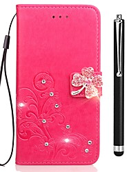 baratos -Capinha Para Vivo Y53 Xplay6 Porta-Cartão Carteira Com Strass Com Suporte Flip Com Relevo Capa Proteção Completa Flor Rígida PU Leather