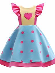 Недорогие -Дети Девочки На каждый день Горошек / Контрастных цветов С короткими рукавами Хлопок Платье Светло-синий / Очаровательный