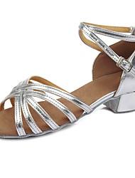 cheap -Latin Shoes Leatherette Sandal / Heel Buckle Chunky Heel Customizable Dance Shoes Silver