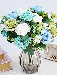 preiswerte -1 Ast Polyester Rosen Wand-Blumen Künstliche Blumen
