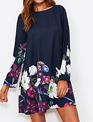 cheap -Women's Going out Basic Loose Tunic Dress - Floral