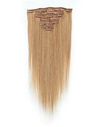 voordelige -Clip-in Extensions van echt haar 7pcs / Pack 70g / pak Medium bruin / Strawberry Blonde Medium Brown / Bleach Blonde Golden Brown /