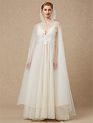 cheap -Sleeveless Tulle Wedding Party / Evening Women's Wrap With Rhinestone Buckle Cap Capes
