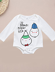 cheap -Baby Unisex Daily Sports Print One-Pieces,Cotton Spring Fall Cute Casual Long Sleeve White