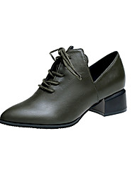 cheap -Women's Shoes PU(Polyurethane) Spring Comfort Oxfords Low Heel Pointed Toe Black / Green